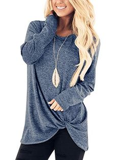 Find hevare Women Casual Long Sleeve T-Shirt Twisted Loose Sweatshirt Top Knits Tees online. Shop the latest collection of hevare Women Casual Long Sleeve T-Shirt Twisted Loose Sweatshirt Top Knits Tees from the popular stores - all in one Tunic Shirt, Shirt Sleeves, Shirt Blouses, Tunic Tops, Sweatshirt, Tee Shirts, Comfy Casual, Casual Tops, Blouses For Women