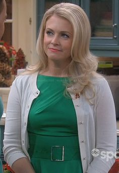 Melissa's green belted peplum dress on Melissa and Joey.  Outfit Details: http://wornontv.net/24096/ #MelissaandJoey
