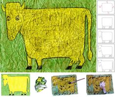 Art Projects for Kids: Dubuffet Cow Drawing Oil Pastel Drawings, Art Drawings, Projects For Kids, Art Projects, Cow Drawing, Leaf Drawing, Collages, Drawing Lessons For Kids, Cow Painting
