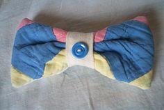Hair Bow Barrette Vintage Quilt Button Antique Quilt Hair Barrette Repurposed Quilt