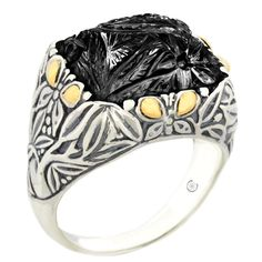 Carved Black Onyx Sterling Silver Ring with 18K Gold Accents | Cirque Jewels