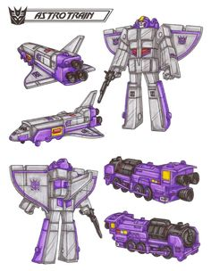Astrotrain: Creating confusion is his specialty. As a Triple Changer, can switch from space shuttle to train to robot almost instantaneously. Thrives on foes' panic and fear. As shuttle, travels at 20,000mph in orbit, up to 50,000mph out of orbit... can launch weapons and satellites. Carries cargo. As a train, top speed is 400mph, range 1700 miles. As robot has great strength, carries powerful ionic displacer rifle. This photo was uploaded by TransformersArkColor