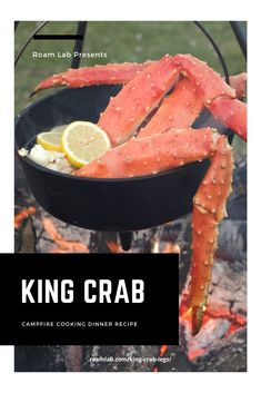 Enjoy our favorite campground seafood delicacy boiled in a dutch oven: king crab legs campfire cooking dinner recipe with drawn garlic dipping butter. Seafood Boil Recipes, Fish Recipes, King Crab Legs, Boiled Food, Campfire Food, Dutch Oven, Garlic, Rv Living, Food Porn