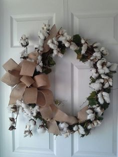 My first cotton boll wreath .