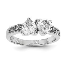 Sterling Silver Rhodium Plated CZ Double Heart Ring QR4264