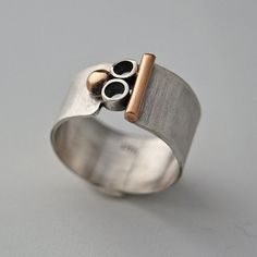 Mixed Metal Silver and Gold Wide Band Mod by cyndiesmithdesigns