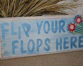 Flip Flops Beach Sign - Wooden Sign -  Bar or Tropical Decor