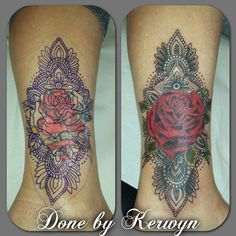 Tattoo cover up, rose, red rose, mandala, ankle tattoo, dot work tattoo, dot work with mandala, women with tattoos, pretty, girly