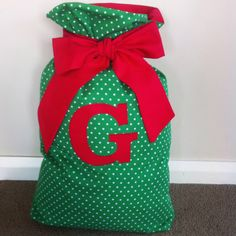Personalised Santa Sack with Large Letter Appliqué by ficklefickle on Etsy