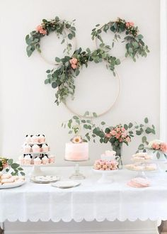7910d8dc0 I wouldn't have it Minnie Mouse theme BUT the decor and colors, I love! and  White: Minnie Mouse Tea Party Second Birthday. Wedding Veil