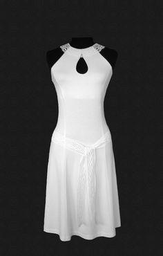 Classic drop cut out white summer dress with linen lace trim