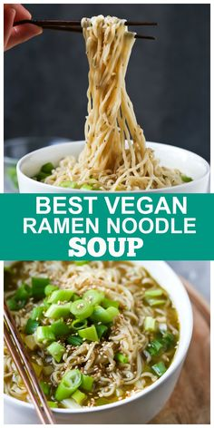 This Vegan Ramen Noodle Soup is the best and also the easiest! ONLY 8 ingredients and FULL of flavor! #vegan #ramen #noodle #soup #plantbased Vegan Lunch Recipes, Vegan Lunches, Vegan Dinners, Raw Food Recipes, Soup Recipes, Vegetarian Food, Vegan Food, Vegan Noodle Soup, Ramen Noodle Soup