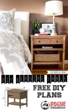 DIY Bedside Table | Free Plans #diyprojects #diyideas #diyinspiration #diycrafts #diytutorial #bedsidetable
