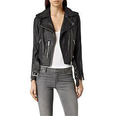 Buy AllSaints Leather Balfern Biker Jacket Online at johnlewis.com