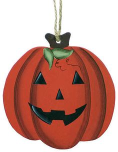Finished Jack O' Lantern Wood Cutout Ornament