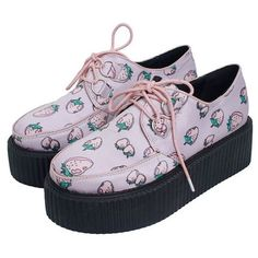 strawberry creepers from mancphoebe ($23) ❤ liked on Polyvore featuring shoes, creepers, sneakers, footwear and creeper shoes