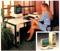 34 weird vintage photos of women in tiny miniskirts at huge old computers