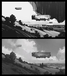 Discover recipes, home ideas, style inspiration and other ideas to try. Spaceship Drawing, Spaceship Art, Environment Sketch, Environment Design, Landscape Concept, Landscape Art, Dojo, Monochromatic Art, Composition Art