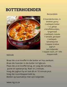 butter Chicken-Botterhoender butter Chicken - – Food for Healty Banting Recipes, Meat Recipes, Indian Food Recipes, Chicken Recipes, Cooking Recipes, Kos, Curry Dishes, South African Recipes, Butter Chicken
