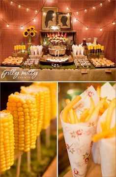 Country theme - dinner of burgers, corn on a stick, fries in a cone, bakes beans, fruit, and various drinks. Orig on Ellen DeGeneres