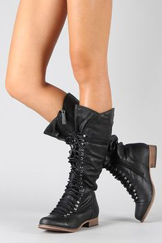 BLACK Women's Military Lace Up Ruched Knee High Boots