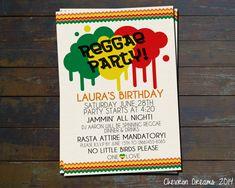 Reggae Party Birthday Invitation by ChevronDreams on Etsy, $10.00