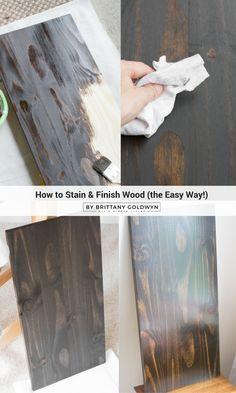 How to stain and finish wood // Staining wood is such an easy way to give character to a piece of unfinished wood, and it's easier than you think! Beginner Woodworking Projects, Diy Woodworking, Painted Furniture, Diy Furniture, Staining Wood Furniture, Luxury Furniture, Furniture Websites, Antique Furniture, Outdoor Furniture