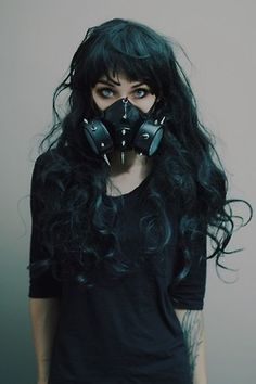 Cyber goth punk rock sexy hair fashion scene cute leather black dreads goth girl