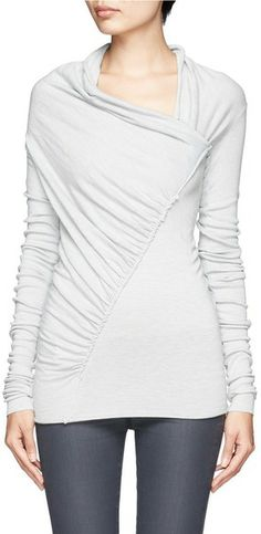 Rick Owens Lilies White Draped Neck Twisted Front Knit Top