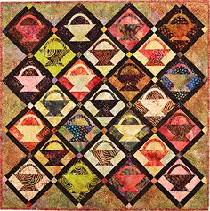"Batik Bounty baskets quilt kit, 40 x 60"", at Pine Needle Quilt Shop"