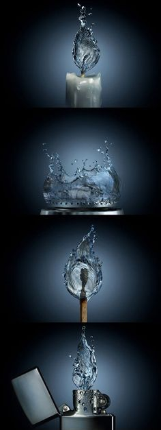 If fire were water. This design uses elements that represent their opposites. This design is extremely realistic, having clear depths in the water, as well as bubbles and droplets. In short, this design is absolutely incredible in regrads to realism.