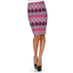 This women's stretch pencil skirt from White Mark gives you streamlined style in a comfortable stretch knit. A hidden side zipper ensures a smooth look, updated with a exciting printed pattern.