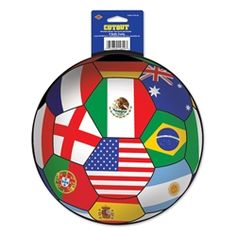 Cutout - International (Qty of 12) Cutout - International (12 Each), Bulk Party Supplies, Sports Party Supplies, Soccer Party Supplies
