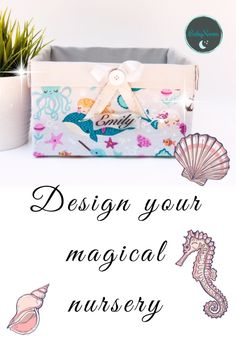 This magical Mermaid Nursery decor is made of gray fabric with mermaids print. It could be a great dresser organizer or dresser tray to store all baby's must in one organized stylish place😍 . Mermaid Nursery Decor, Nautical Nursery Decor, Nursery Neutral, Woodland Nursery, Nursery Dresser Organization, Diaper Organization, Baby Shower Themes, Baby Shower Gifts, Nursery Prints
