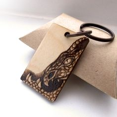 The majestic dragon, personalised pyrography wooden keyring. £14.95