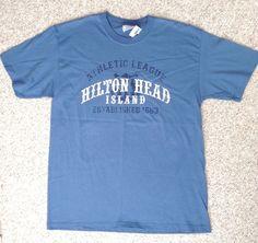 New HILTON HEAD ISLAND T-SHIRT Blue/White South Carolina Hanes ADULT MED unisex #Hanes #GraphicTee