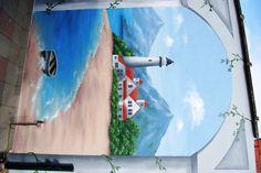 idee! muurschildering in de tuin:):)