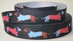 7/8 Dachshund Dog Print Grosgrain Ribbon by RibbonStation on Etsy