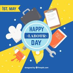 Happy labour day background. Download thousands of free vectors on Freepik, the finder with more than 3 millions free graphic resources Labour Day, Happy Labor Day, Happy People, Creative Design, Vectors, Vector Free, How To Draw Hands, Banner, Drawings