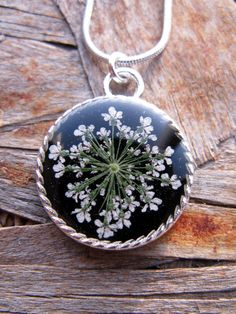Queen Anne's Lace Resin Pendant Necklace -  Real Pressed Flower Encased in Resin, Pressed Flower Jewelry