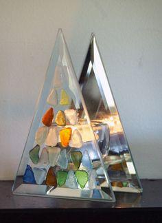 Upcycled Colorful Sea Glass Triangular Tea Light by oceansbounty, via Etsy.