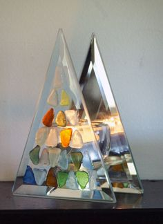 Upcycled Colorful Sea Glass Triangular Tea Light by oceansbounty, via Etsy.