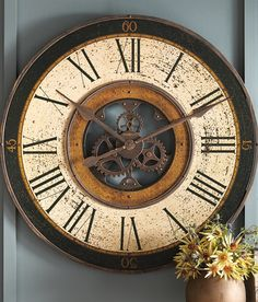 With its exposed works (partially functional), our Oversized Brass Works Wall Clock from Howard Miller creates a striking impact on any wall.