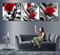 Pf3250 impresso e emoldurado 3 painel de pintura a óleo sobre tela de parede para home decor e rosas