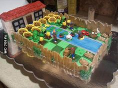 My friends 4-year-old son loves Plants vs Zombies. This is the birthday cake she made him.