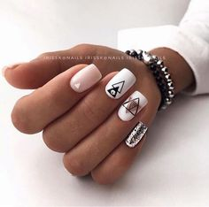 nails - Manicure from @ irisska nails Blagoveshchensk nail nails manicure naildesign nailideas nailart designtool ideide Stylish Nails, Trendy Nails, Cute Nails, My Nails, Cute Nail Art, Short Square Nails, Short Nails, White And Silver Nails, Best Acrylic Nails