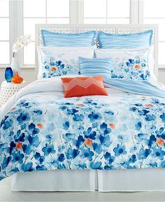Water Garden 8 Piece Queen Comforter Set - Bed in a Bag - Bed & Bath - Macy's Blue Comforter Sets, Orange Bedding, Bedroom Orange, Queen Comforter Sets, Bedroom Sets, Home Bedroom, Bedroom Decor, Trendy Bedroom, Bedroom Colors