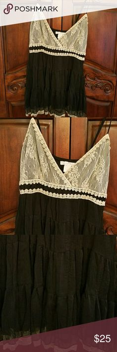 CHARLOTTE RUSSE Vintage Lace Top VINTAGE INSPIRED Both top & bottom of this blouse is lined. Feel like a soft cozy cotton, but tag says 100% polyester. The lace is a antique cream color. Bottom of top layered. Brand new, in perfect condition. Straps are adjustable. Charlotte Russe Tops Camisoles