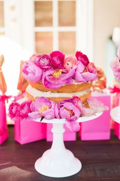 Peony covered naked cake: http://www.stylemepretty.com/living/2015/02/09/mommy-and-toddler-valentine-party/ | Photography: One Eleven - http://oneelevenphotography.com/
