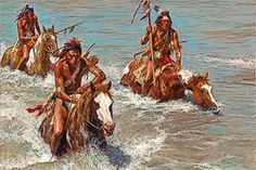 Pursuit Across the Yellowstone by Howard Terpning - True West Magazine Native American Pictures, Native American Design, Native American History, Native American Indians, Mayan Symbols, Viking Symbols, Egyptian Symbols, Viking Runes, Ancient Symbols